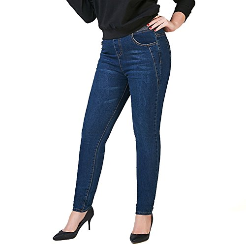7d2b9b47e3930 Just for Plus Women s Dark Blue Denim Jeans Elastic Waist Pencil Pants Plus  Size Skinny Slim Fit