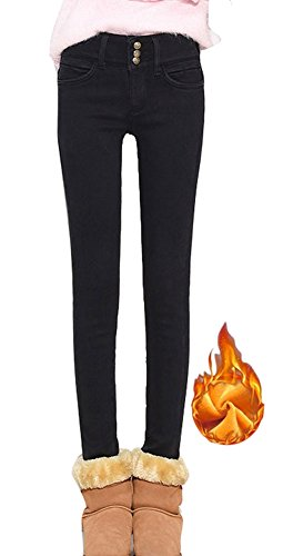 fc9e132f Plaid & Plain Women's Winter Warm Thick Slim Fit Fleece Lined Skinny ...