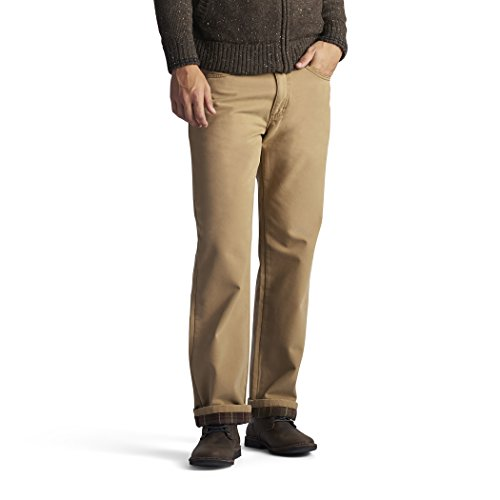 3dda2136f2 LEE Men's Fleece and Flannel Lined Relaxed-Fit Straight-Leg Jeans ...