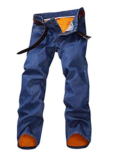 ab06e7719c946 Plaid Plain Men s Fleece Lined Straight Fit Thermal Warm Jeans ...